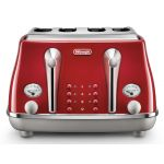 DeLonghi Icona Capitals 4 Slice Toaster - Tokyo Red - CTOC4003R